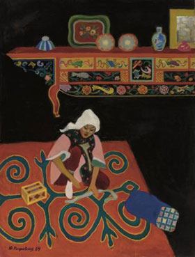 Dunganian woman at work, Kazakhstan